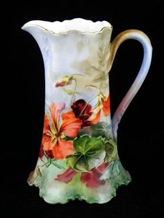 ANTIQUE LIMOGES PITCHER HANDPAINTED ARTIST SIGNED