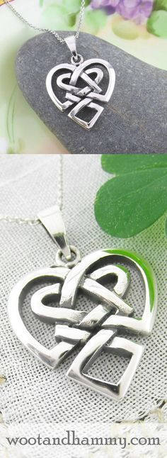 The celtic knot, with its connotations of eternity and interconnectedness, is merged here with the traditional symbol of love – the heart. Celtic heart knot necklace in sterling silver.