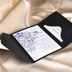 Vintage purple chandelier wedding invitation with black pocket EWPI001 |