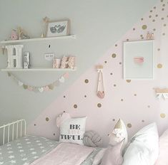 Add a touch of fun to your walls with Gold Dot decals! has one - Baby girl room - Kinderzimmer Baby Bedroom, Baby Room Decor, Girls Bedroom, Bedroom Furniture, Bedroom Decor, Bedroom Ideas, Cool Teen Bedrooms, Toddler Rooms, Kids Wall Decals