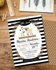Little Lamb Baby Shower Invitation, Gender Neutral, Woodland Baby Shower Invite, Storybook Baby Shower, Printable Invitation, Black,