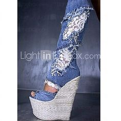 Women's Sandals Summer Fall Club Shoes Comfort Novelty Fabric Wedding Outdoor Party & Evening Dress Casual Wedge Heel Zipper Walking - AUD $124.97 ! HOT Product! A hot product at an incredible low price is now on sale! Come check it out along with other items like this. Get great discounts, earn Rewards and much more each time you shop with us!