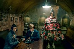 Bold and Bewitching - Unlike mythical creatures, these wearable-art pieces really do exist. Model Grace Hartzel (far right) wears a Comme des Garçons dress and shoes; Comme des Garçons, NYC.Set Design: Mary HowardIn this story: Hair: Julien d'Ys for Julien d'Ys; Makeup: Diane Kendal Warner Bros. Hair and Makeup: Helena Card, Tanya Cooper, Sally Crouch, Fae Hammond, and Nicky Knowles Tailor: Michelle Warner Manicure: Jenny Longworth Costume Credits: Colleen Atwood; Warner Bros. Production…