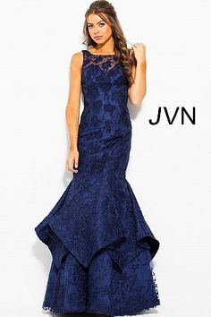 Navy Floral Embroidered Sleeveless Mermaid Dress JVN59896 #JVN #mermaiddress #promdress #formal