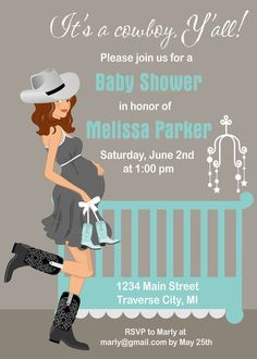 Cowboy/cowgirl Baby Shower Invitations - Country Western Crib Theme for A Boy or pink for a girl Distintivos Baby Shower, Shower Bebe, Boy Baby Shower Themes, Baby Shower Invitations For Boys, Baby Shower Parties, Cowgirl Baby Showers, Cowboy Baby Shower, Western Babies, Western Crib