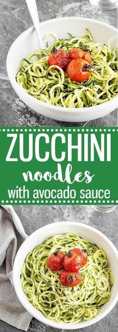 Zucchini Noodles with Avocado Sauce and Burst Cherry Tomatoes