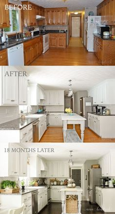 Beautiful Kitchen Paint Colors Ideas with Oak Cabinet - Page 13 of 37 How to Paint Oak Cabinets and Hide the Grain Modern Kitchen Cabinets For Small Spaces White Painted Kitchen Before, After, & 18 Months Later by Home, Kitchen Cabinets Makeover, Kitchen Remodel, Kitchen Design, Kitchen Paint, Kitchen Inspirations, Home Remodeling, New Kitchen, Kitchen Redo