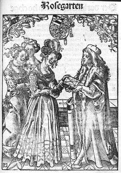 Katharina von Braunschweig-Lüneburg being presented with a book in a print ascribed to Martin Kaldenbach or Conrad Merckel,1513