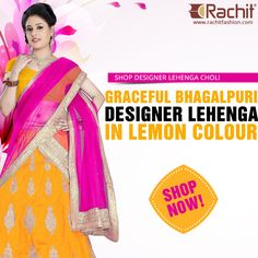 Buy Graceful Bhagalpuri Designer Lehenga In Lemon Colour.  #bhagalpuri #lemon #designerfashion #fashion