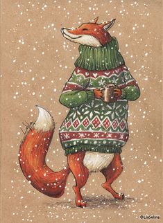 VERY RARE Fox in sweater with mug by Lia Selina Russian modern postcard Fuchs Illustration, Winter Illustration, Christmas Illustration, Christmas Drawing, Christmas Art, Wall Drawing, Pintura Country, Fox Art, Arte Popular