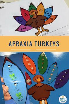 Apraxia Turkeys for Speech Therapy Thanksgiving theme! Speech Room News