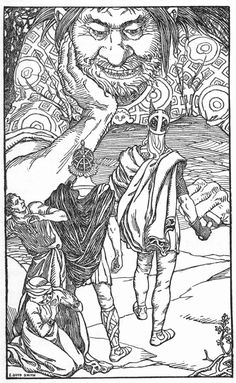 """I am the giant Skrymir"" by Elmer Boyd Smith Thor and Loki in front of Skrymir (really Utgårda-Loki), Tjalfi and Röskva (Thors servants) turning away in fear. The story can be found in Gylfaginning in the Prose Edda Loki Norse Mythology, Norse Pagan, Old Norse, Pagan Gods, Vikings, Book Of Saints, Asatru, Viking Age, Gods And Goddesses"