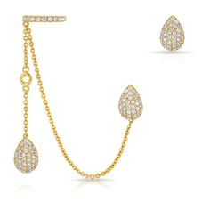 Anne Sisteron 14KT Yellow Gold Diamond Pear Stud and Ear Cuff Chain... ($2,900) ❤ liked on Polyvore featuring jewelry, earrings, accessories, gold, diamond earrings, gold ear cuff, gold jewellery, earring jewelry and stud earrings