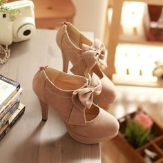 1babb5a62 Sexy And Cute Front Bow Embellished Stiletto High Heels Light Tan Pumps
