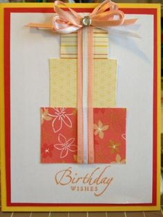 stack of presents, ribbon and bow card
