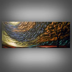 metallic gold silhouette tree painting abstract by mattsart. Another of my favorites!