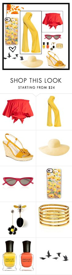 """""""Untitled #51"""" by pinokio-pinokio ❤ liked on Polyvore featuring Saloni, Balmain, Anne Klein, Columbia, Le Specs, Casetify, Kenneth Jay Lane, Deborah Lippmann and Jayson Home"""