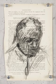 Charcoal Drawing William Kentridge, Carnets d'Egypte: Spectrophotometrie, Charcoal on found page, x Drawing Lessons, Drawing Tips, Art Postal, Contour Drawings, Drawing Faces, Pop Art Portraits, Charcoal Drawings, Collage, Digital Painting Tutorials