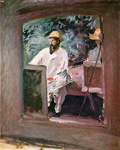 John Singer Sargent  Claude Monet in his Bateau-Atelier