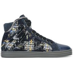 Hogan Rebel woven lace-up hi-tops ($292) ❤ liked on Polyvore featuring shoes, sneakers, blue, high top sneakers, high top leather shoes, blue sneakers, woven sneakers and leather high tops