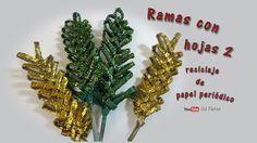 Ramas con hojas 2 reciclaje de papel periódico - Branches with leaves re...