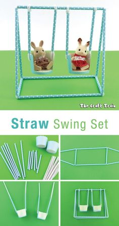 DIY straw swing set for imaginative playYou can find Swing sets and more on our website.DIY straw swing set for ima. Projects For Kids, Diy For Kids, Craft Projects, Straw Art For Kids, Doll House Crafts, Doll Crafts, Craft Stick Crafts, Crafts For Kids, Diy Straw Crafts
