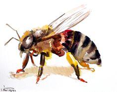 Bee, original watercolor painting, 10 X 8, bee art, honey bee on Etsy, £15.70