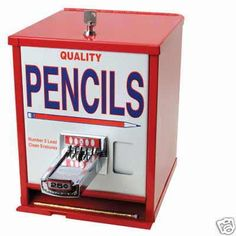 Pencil vending machine. I remember when they had these at the library. They had notebook ones, too.