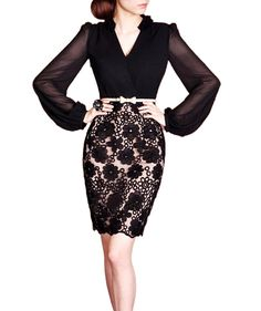 Purpura Erizo Womens Optical Illusion Lace Black Belted Pencil Dress -- Continue to the product at the image link. (This is an affiliate link and I receive a commission for the sales)