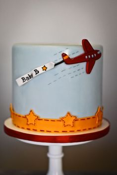 Baby Boy Shower cake with plane