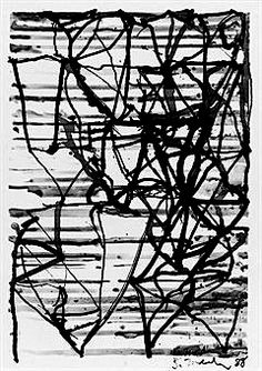 brice marden - painted with black paint on long sticks on large wall hung panel...