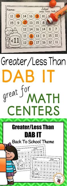 Working with bingo markers is on of my children's favorite things to do!  So I have been busy making a variety of educational dab it worksheets.  Add these greater than/less than dab it printables to your math center during your back to school unit!