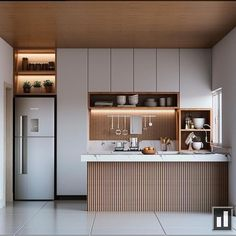 Cozinha moderna em linhas retas, com marcenaria na cor cinza e madeira ripada na., Cozinha moderna em linhas retas, com marcenaria na cor cinza e madeira ripada na. Loft Kitchen, Kitchen Room Design, Kitchen Dinning, Kitchen Sets, Modern Kitchen Design, Home Decor Kitchen, Interior Design Kitchen, Country Kitchen, Kitchen Furniture