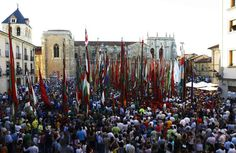 Foto para la historia de la concentración de pendones que tuvo lugar en la plaza de San Isidoro de la capital leonesa para entrar en el libro Guinness, con 143 representantes de la provincia - RAMIRO