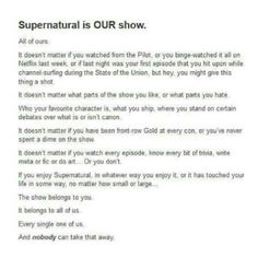 Supernatural is our show // SPN Family