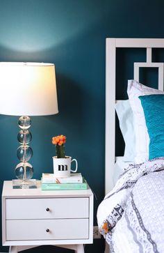 Bedroom with dark teal walls: Benjamin Moore Galapagos Turquoise