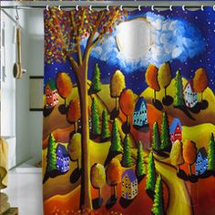 Fall Night   Renie Britenbucher  Shower Curtain