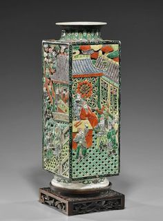 """Tall antique Chinese Kangxi-style Famille Verte enameled porcelain vase; in square form, fully reticulated with design of figures in various settings, seal mark (firing crack to foot); H: 15 3/4"""""""