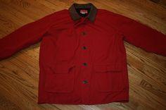Marlboro Country Store lined Barn Coat Work Jacket Adult Large leather trim red #MarlboroCountryStore #BasicJacket