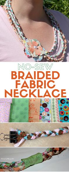 tutorial to create a no-sew braided fabric necklace. A DIY Jewelry ...