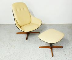 $1395 mid century modern rare Plycraft George Mulhauser walnut white naugahyde chair and ottoman