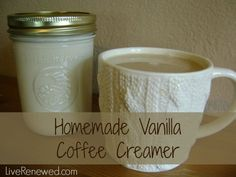 This stuff is SO good! Homemade Vanilla Coffee Creamer - with real food ingredients!
