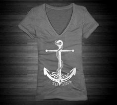 Plus Size Refuse To Sink Anchor Vneck Tshirt For by ElegantTees, $24.99
