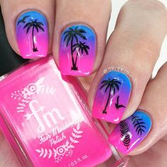 Neon gradient palm tree summer nail art