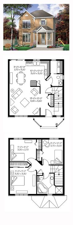 Narrow Lot House Plan 65425 | Total Living Area: 1170 sq. ft., 3  bedrooms and 1.5 bathrooms. #narrowlothome