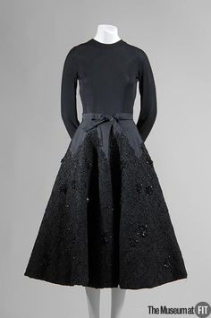 1951-1952, France - Evening dress by Balenciaga - Black silk jersey, silk faille, and sequin and jet beaded lace