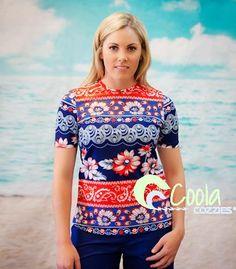Coola Cozzies women's UPF50+ short sleeve rashie/swim shirt in sizes 10 to 24. Island Girl.  #womensswimwear #swimwear #coveredswimwear