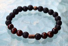 8mm Black Basalt Lava Stone Red Tigers Eye Wrist Beads Bracelet Ground – AwakenYourKundalini