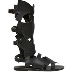 ANCIENT GREEK SANDALS High Leather Gladiator Sandals - Black (€680) ❤ liked on Polyvore featuring shoes, sandals, sandale, black, gladiator sandals, black leather strap sandals, black sandals, leather shoes and leather strap sandals