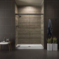 """Kohler K-707201-L Revel Frameless Sliding 70"""" x 59-5/8"""" Shower Door with Clear G Anodized Dark Bronze Showers Shower Doors Sliding"""